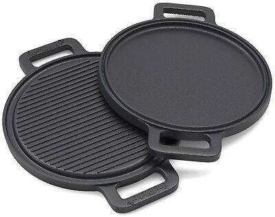 13.5 inch Griddle Pan Two-Sided Cast Iron Pizza Stone with Reinforced Handles