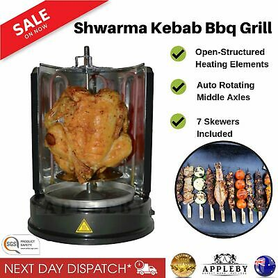 Electric Vertical Grill & Rotisserie BBQ Steak Kebab 1500W Stainless Steel