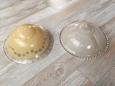2 Vintage Art Deco Ceiling Glass Light Shades Frosted 40s/50s