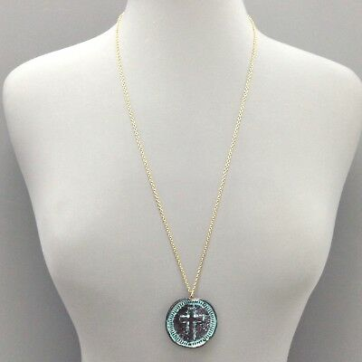 Long Patina Finish Double Face Coin Pendant with Antique Cross Design Necklace