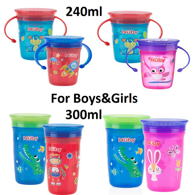 Nuby 360 Degree No Spill Drinking Sippy Training Cup Pack of 2 Spill Proof