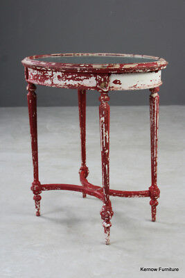 Antique French Shabby Chic Louis XVI Style Oval Side Bedside Occasional Table