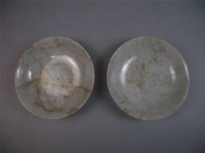 Rare pair of Chinese 19th century carved white jadeite saucer dishes old marks