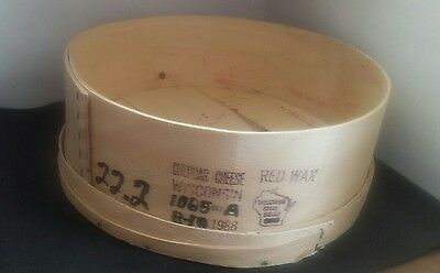 Vintage Antique 1988 Large Round Wooden Cheese Box Wisconsin Cheddar