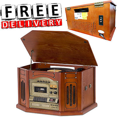 Retro Record Player Vintage Antique Wood USB Portable Cabinet Stereo Center