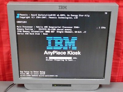 "IBM AnyPlace Kiosk 4838 Model 93E with 19"" Touch Screen Tested working!"