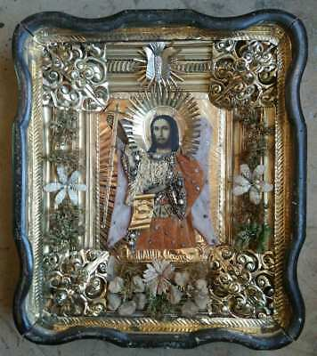 """Antique 19c Russian Hand Painted Wood Icon """"John the Baptist"""""""