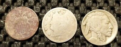 Three Different Type Nickel Lot! Shield, Liberty Head & Buffalo! Free Shipping!