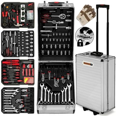 Tool Kit 629 Pieces Box Storage Trolley Garage Mobile Workshop Home Gift