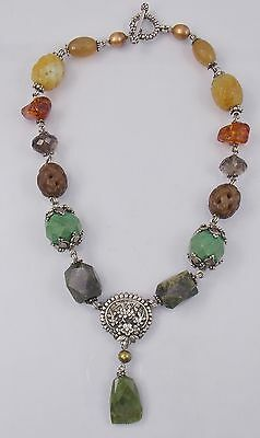 Stephen Dweck Sterling Silver Chunky Multi Stone Amber Quartz Toggle Necklace