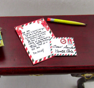 LETTER TO SANTA Miniature Dollhouse 1:12 Scale Christmas Holiday Mail North Pole