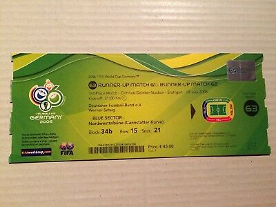 Used Ticket FIFA World Cup 2006 #63 Germany Portugal Deutschland DFB