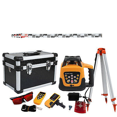 Automatic Self-Leveling 500m Red Beam Rotary Laser Level Kit Staff + Tripod