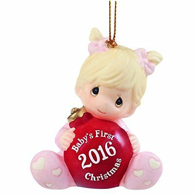 "Precious Moments Christmas Gifts ""Baby's First Christmas 2016"" Baby Girl Bisq..."