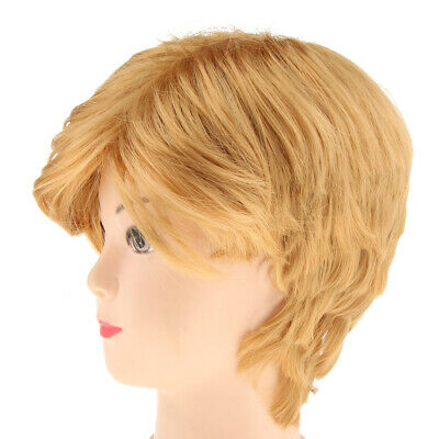 Man's Short Gold Wig Blond Wig Donald Trump Fancy Dress Accessories