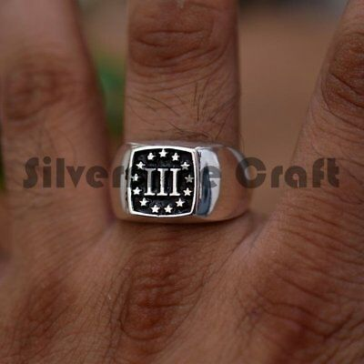 Solid 925 Silver 3 Percent Oxidized Mens Signet Ring Fine Mans Jewelry All Sizes