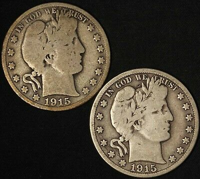 1915-D and 1915-S Barber Half Dollars - Free Shipping USA