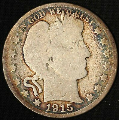 1915 Barber Half Dollar - Very Low Mintage 138,000 - Free Shipping USA