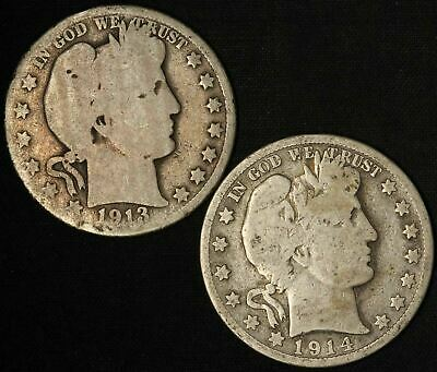 1913-D and 1914-S Barber Half Dollars Both Low Mintage - Free Shipping USA