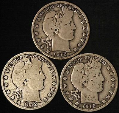 1912, 1912-D and 1912-S Barber Half Dollars - Free Shipping USA