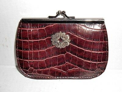 "Vintage Black & Brown Embossed Leather Coin Purse 5"" x 4"" - Great Condition"