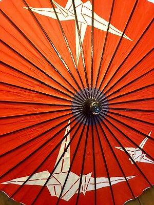Vintage Japanese Origami Wooden Umbrella Oriental Art Antique Parasol Paper Bird