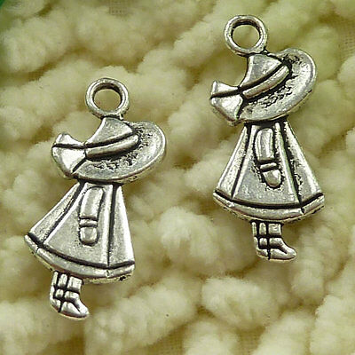 free ship 55 pieces tibetan silver girl charms 25x10mm #3394