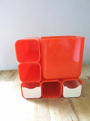 Vintage Mid Century Modern Desk Organizer Pencil Orange Plastic HF Hong Kong Mod