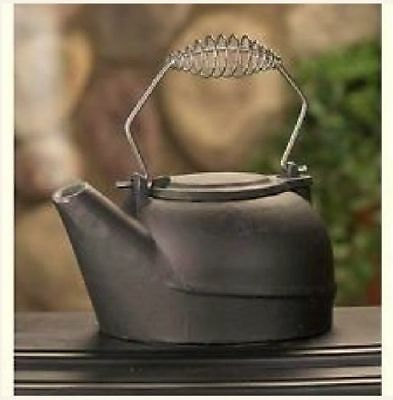25 QT Black Vintage Wood Stove Cast Iron Kettle Humidifier Pot Steamer Fireplace