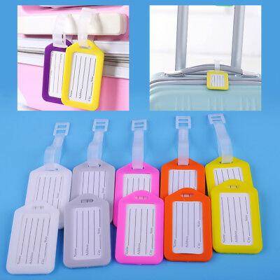 10pcs Travel Luggage ID Tag Plastic Suitcase Bag Baggage Name Address Label Tags