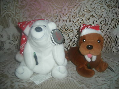 Coca Cola Christmas Bean Bag Plush Toys Walrus & Polar bag in Snowflake Hats