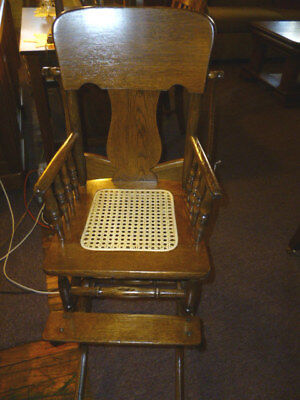 Antique Oak Chair childs highchair cane seat with tray refinished 1900's rocker