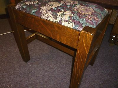 Antique Oak Footstool bench quartersawn tiger refinished mission style 1900's