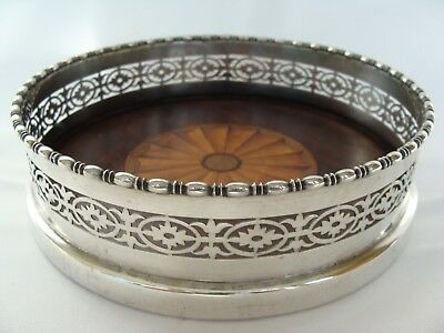 Antique 19thC Goodnow & Jenks Boston Sterling silver Wine Coaster Marquetry Fan