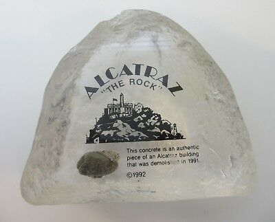 Alcatraz Actual Concrete From Prison Building Demolished 1991 Lucite Paperweight