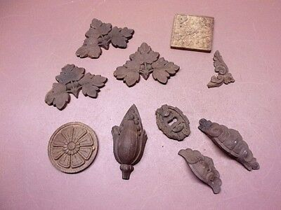Vtg Lot of 10 Carved Wooden Furniture Decorations Drawer Pulls Key Hole Leaves
