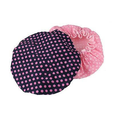 HiCollie Womens Cute Polka Dot Printed Double Layer Waterproof Shower Cap Set...
