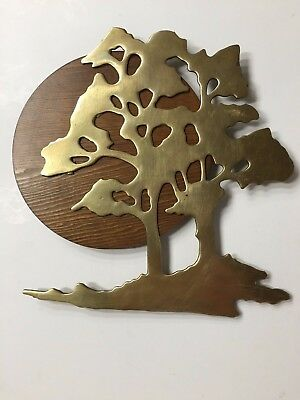 Vintage House of Lloyd Brass Oak Tree Mounted On Wooden Moon Wall Hanging  1989