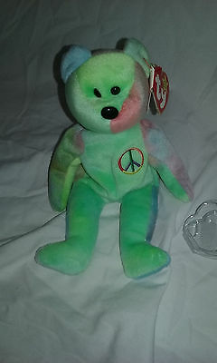 ULTRA RARE Beanie Baby Peace Bear w/2 swing tags & tag protector, Pe , 17errors