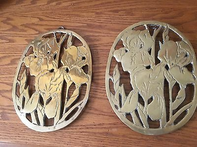 """Very Vintage Pair of Brass Trivets and/or Wall Hangings, Iris Design, 8""""x6"""""""