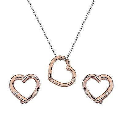 Hot Diamonds Women's Sterling Silver with Rose Gold Accent Twist Pearl Set