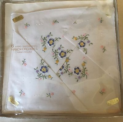 Six Dainty Hand Embroidered Handkerchiefs, boxed, Vintage