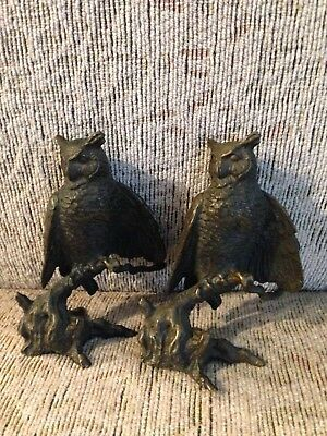 Pair BRONZE Great-horned Owl from the Avon American Wildlife Bronze Collection