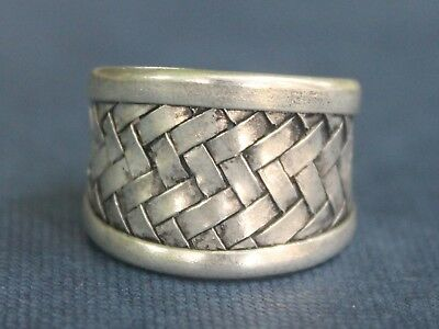 Ethnic silver woven ring Handmade adjustable boho ring Gift for her or him