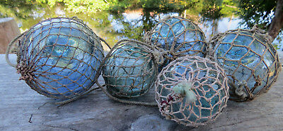 """Japanese Glass Floats ANTIQUE NETTED (2) 3"""" & (3) 2"""" Fishing Balls Vintage!"""