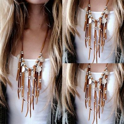 Women Faux Suede Fringe Leather Tassel Charm Long Chain Sweater Layer Necklace