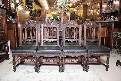 Beautiful Set Of 8 French Antique Renaissance Carved Chairs.New Upholstery