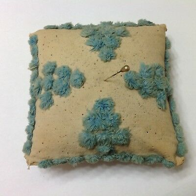 Antique Sewing Pin Cushion Chenille Fabric Great Display Piece!