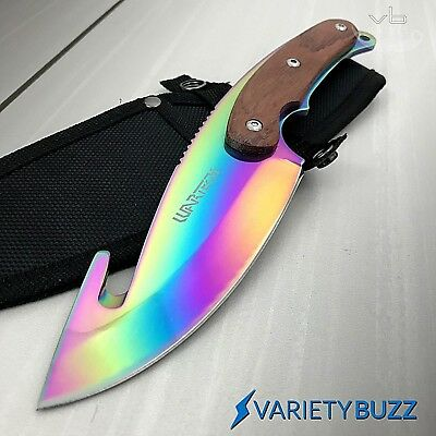 "11"" TACTICAL SURVIVAL Gut Hook Full Tang RAINBOW FIXED BLADE KNIFE Wood Hunting"