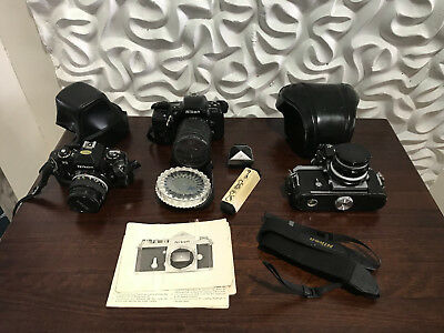 Lot of Nikon F FG N6006 35mm Cameras, Lenses & Accessories, Vintage 50s 80s 90s